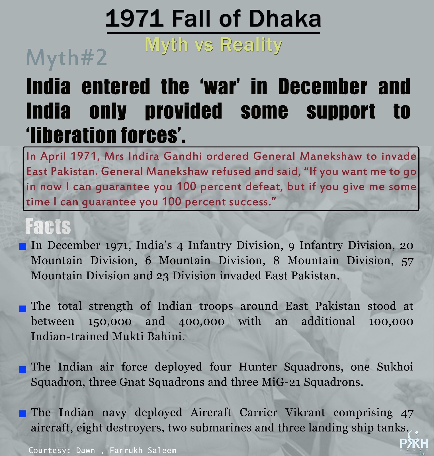 1971 fall of dhaka, myth vs reality. myth2